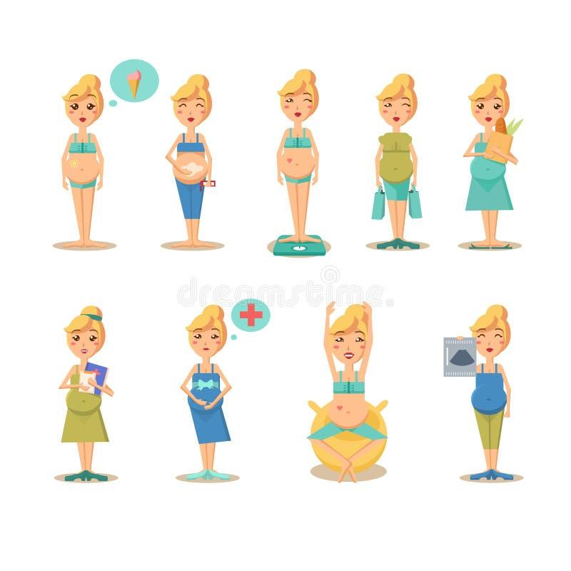 Desenhos engraçados dos desenhos animados da gravidez ilustração do vetor