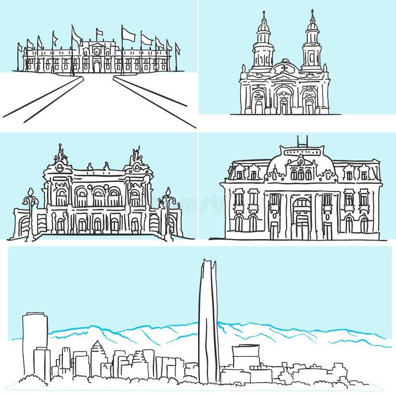 Desenhos famosos da arquitetura de Santiago Chile à mão ilustração stock