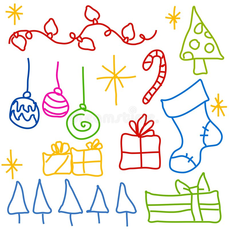 Desenhos infanteis do Doodle do Natal ilustração stock