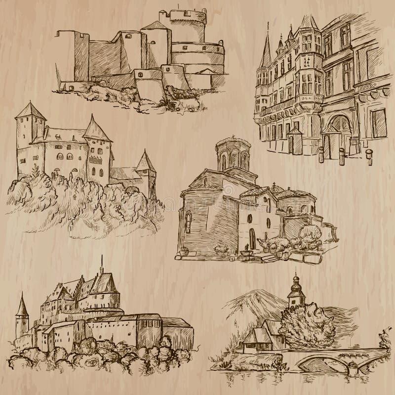 Desenhos a mão livre da arquitetura e dos lugares em todo o mundo - ilustração do vetor