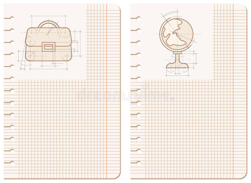 Desenhos na folha do caderno ilustração do vetor