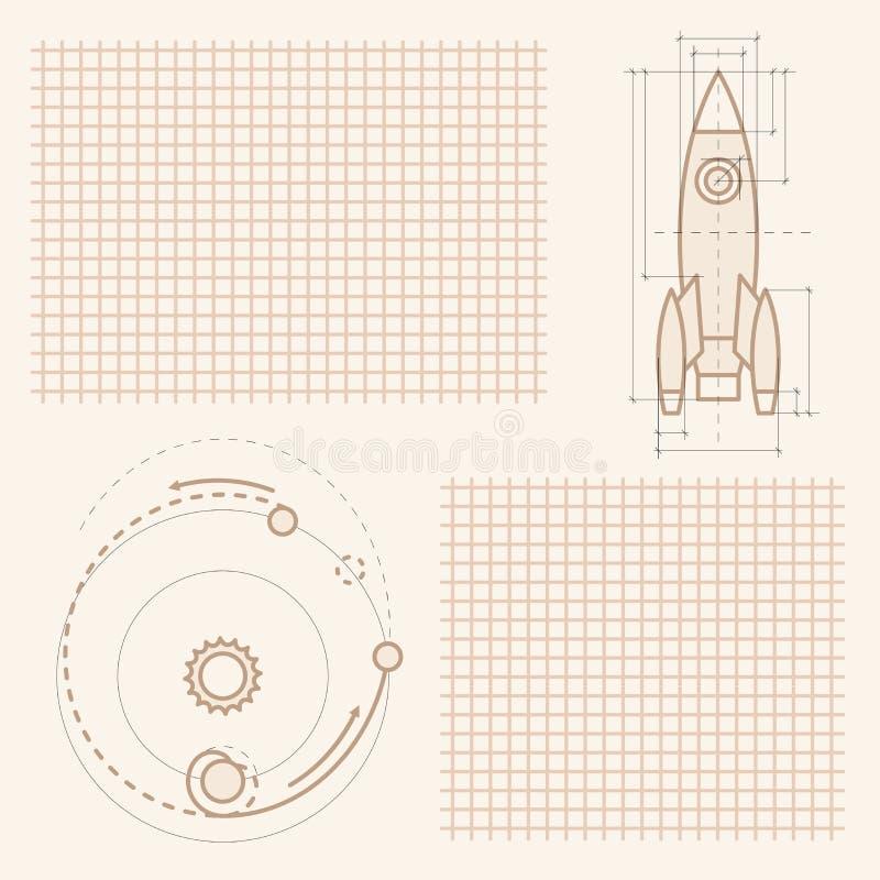 Desenhos na folha do caderno ilustração stock