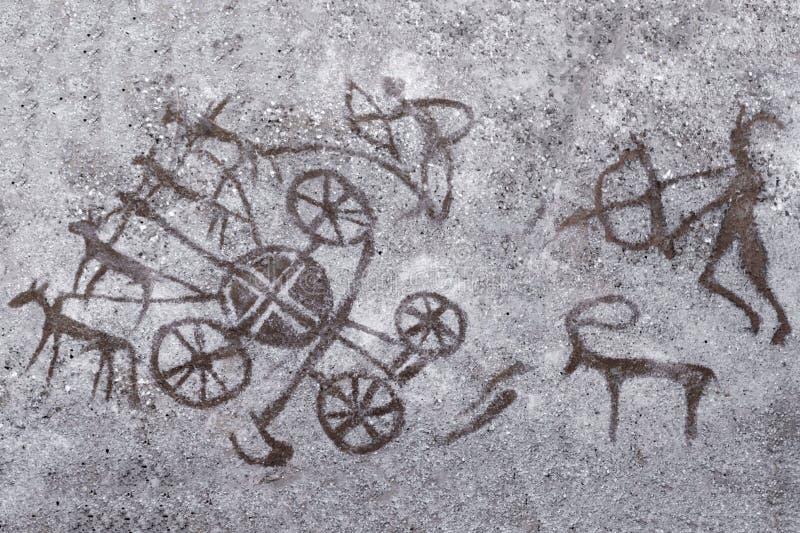 Desenhos na parede da caverna, homem antigo pintado do ocre ilustração stock