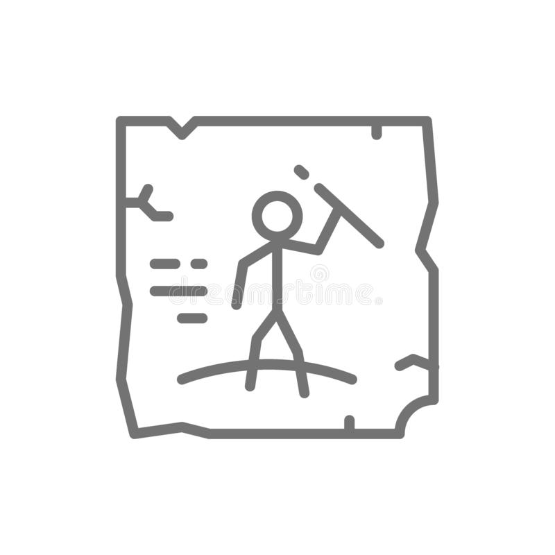 Desenhos pré-históricos, pintura de caverna, linha ícone da arte da rocha ilustração do vetor