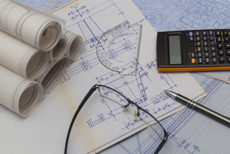 Desenhos técnicos fotografia de stock