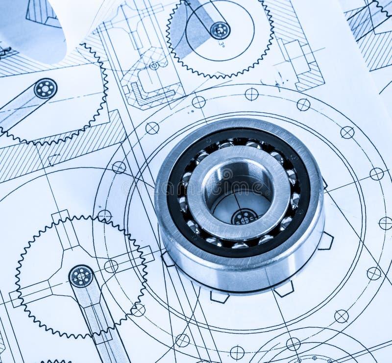 Desenhos técnicos com o rolamento imagens de stock royalty free