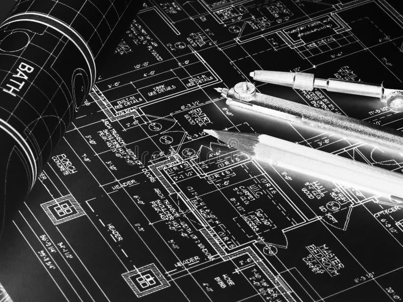 Desenhos técnicos do projeto, rolos dos modelos e ferramenta de desenho imagem de stock royalty free
