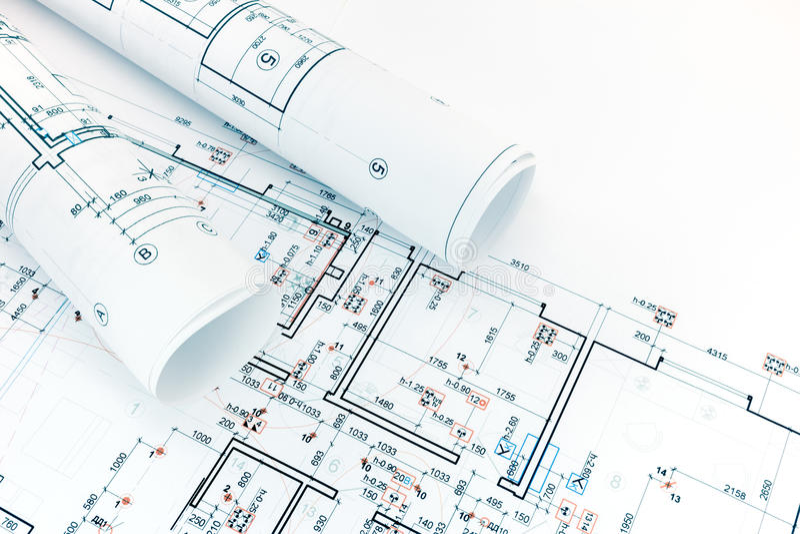 Desenhos técnicos e de engenharia, plantas baixas, rolos do archit imagens de stock