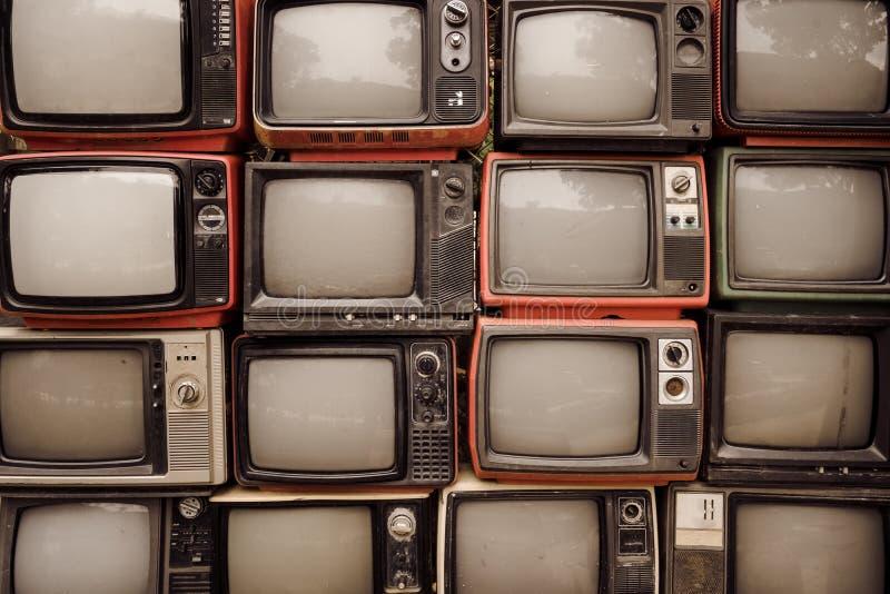 Deseniowa ściana palowa stara retro telewizja obraz stock