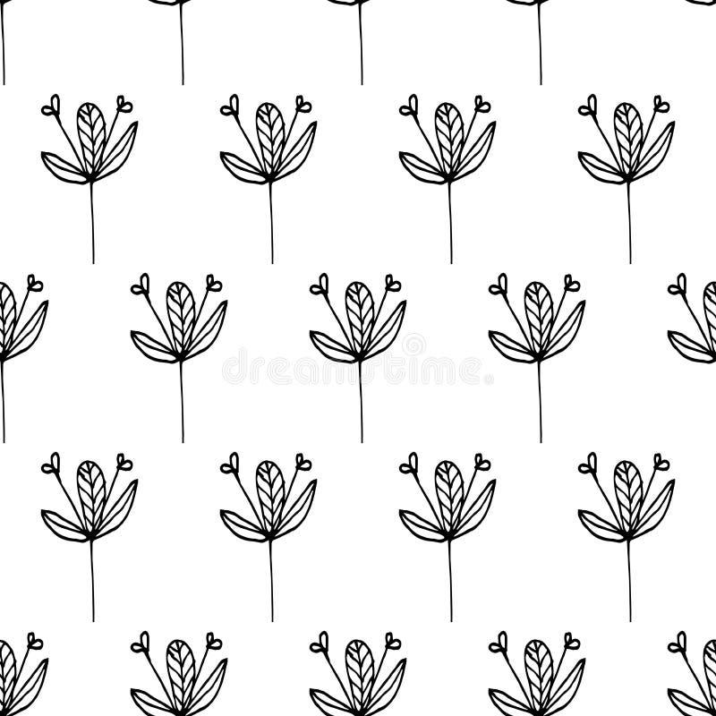 Deseniowa abstrakcja kwitnie czarne linie 02 ilustracja wektor