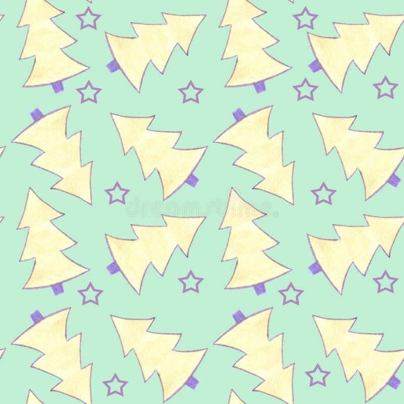 Deseniowa bezszwowa akwarela z kolorem żółtym, fiołkowymi jedlinowymi drzewami i fiołek gwiazdami na zielonym tle ilustracja wektor