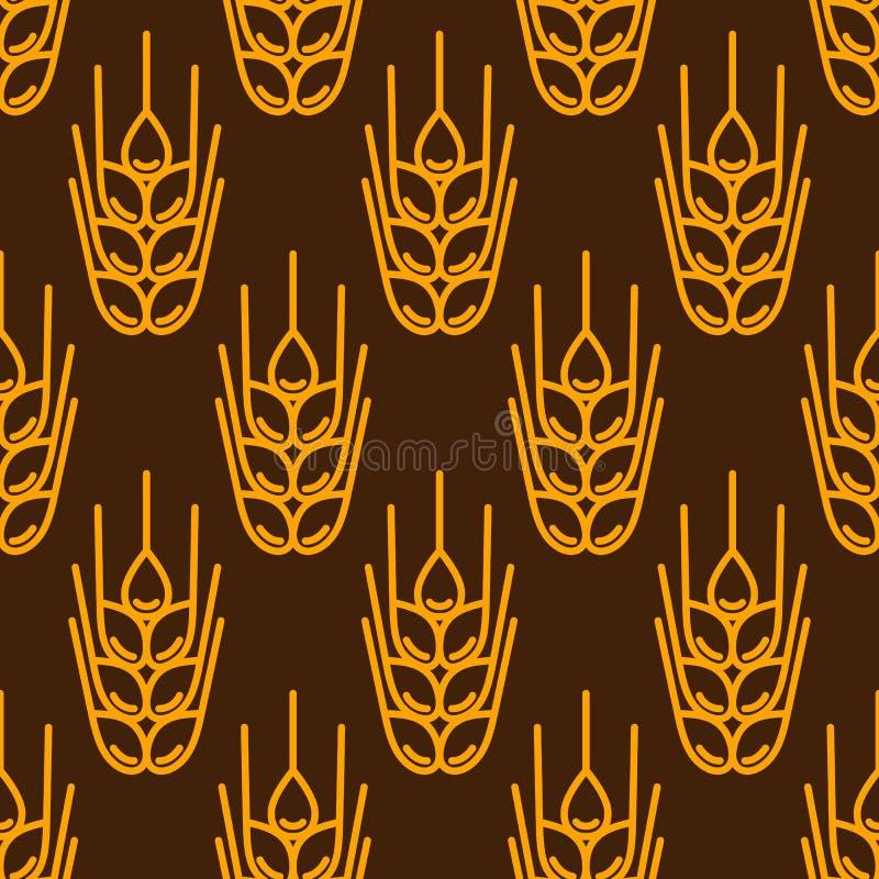 deseniowa bezszwowa banatka Rolniczego wizerunku naturalni ucho jęczmień lub żyto royalty ilustracja