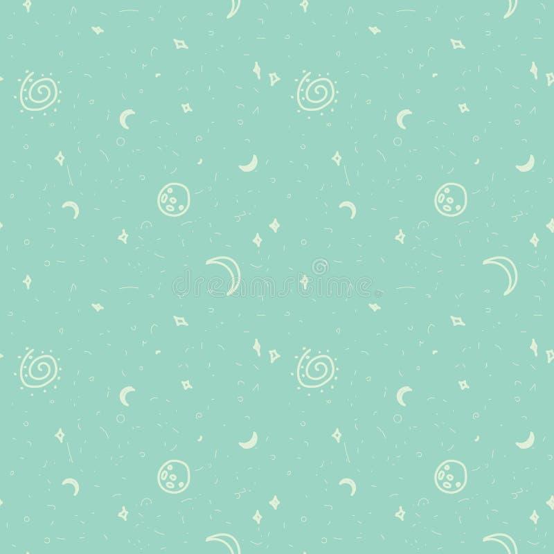 deseniowa bezszwowa przestrzeń Pozaziemski wzór na błękitnym tle royalty ilustracja