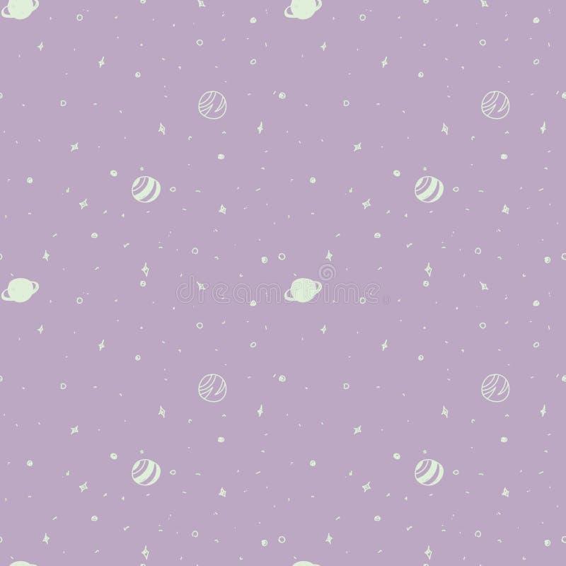 deseniowa bezszwowa przestrzeń Pozaziemski wzór na fiołkowym tle royalty ilustracja