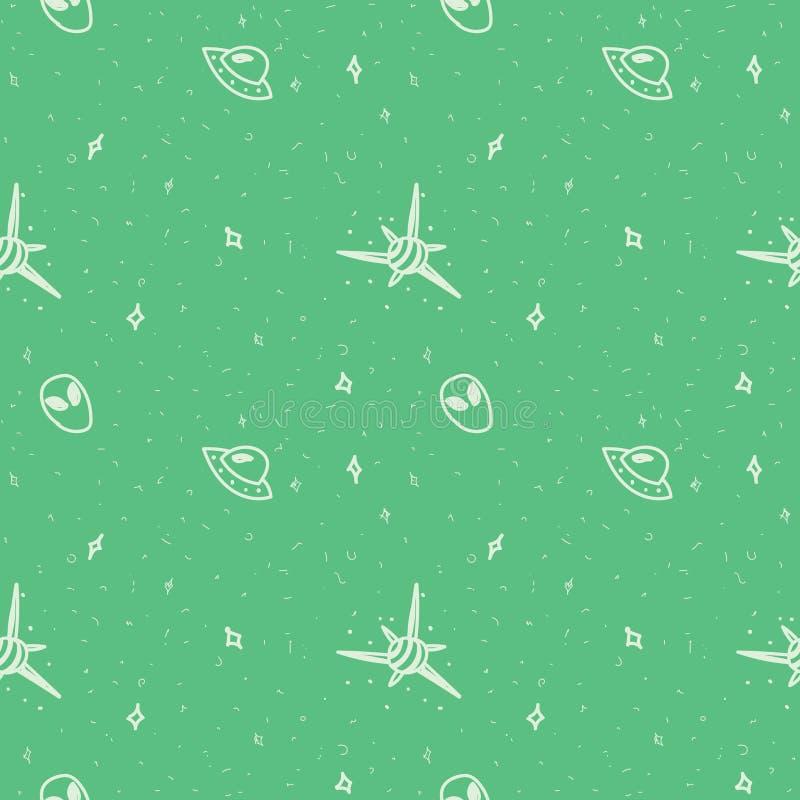 deseniowa bezszwowa przestrzeń Pozaziemski wzór na zielonym tle royalty ilustracja
