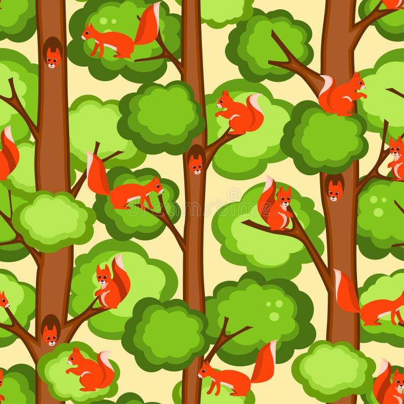 deseniowa bezszwowa wiewiórka ilustracja wektor