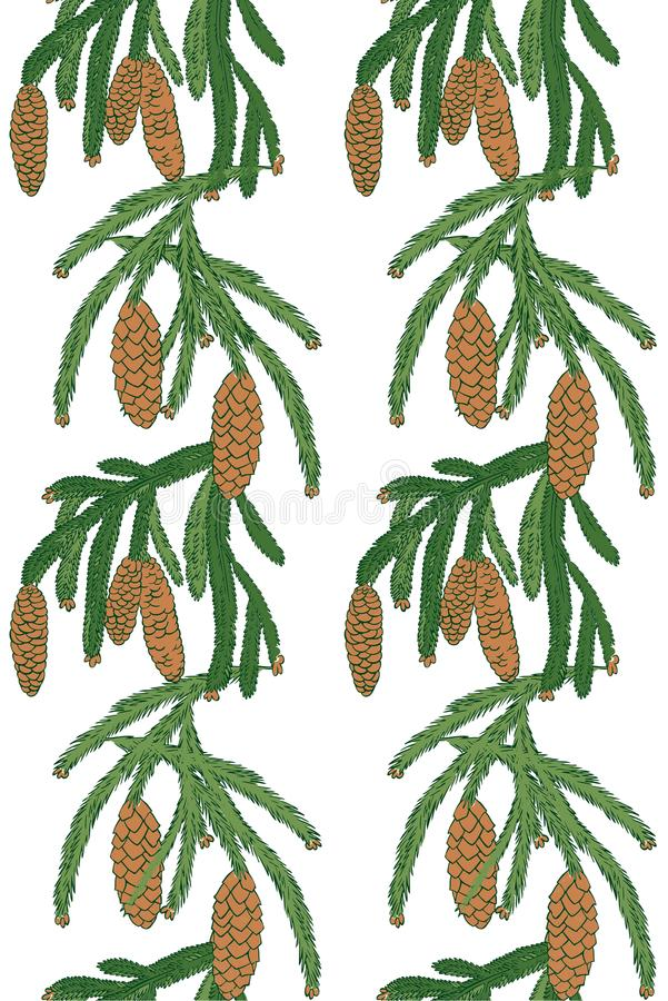 Deseniowa biała sosna z sosnowymi rożkami ilustracja wektor