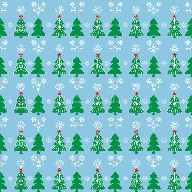 Deseniowa choinka w śniegu ilustracja wektor