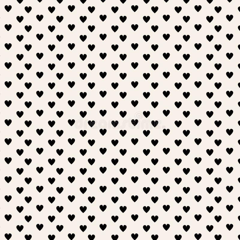Deseniowa czarna serce wektoru ilustracja Simbol miłość i walentynki ` s dnia bacground czarny serce na beżowym tle ilustracja wektor