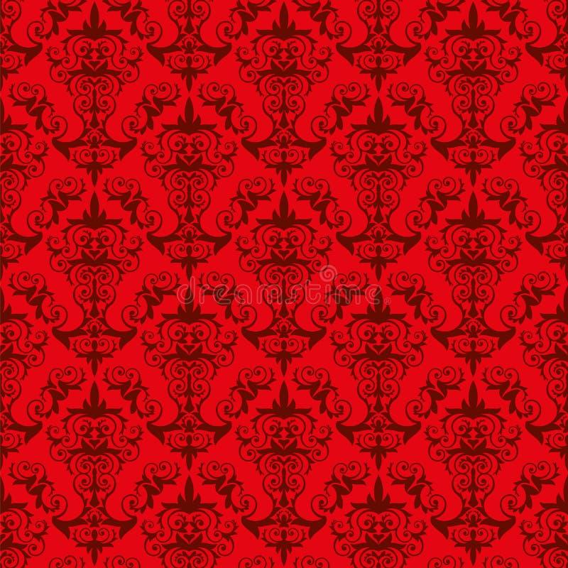 Deseniowa czerwona tekstury rocznika tapeta ilustracja for Rote tapeten wandgestaltung