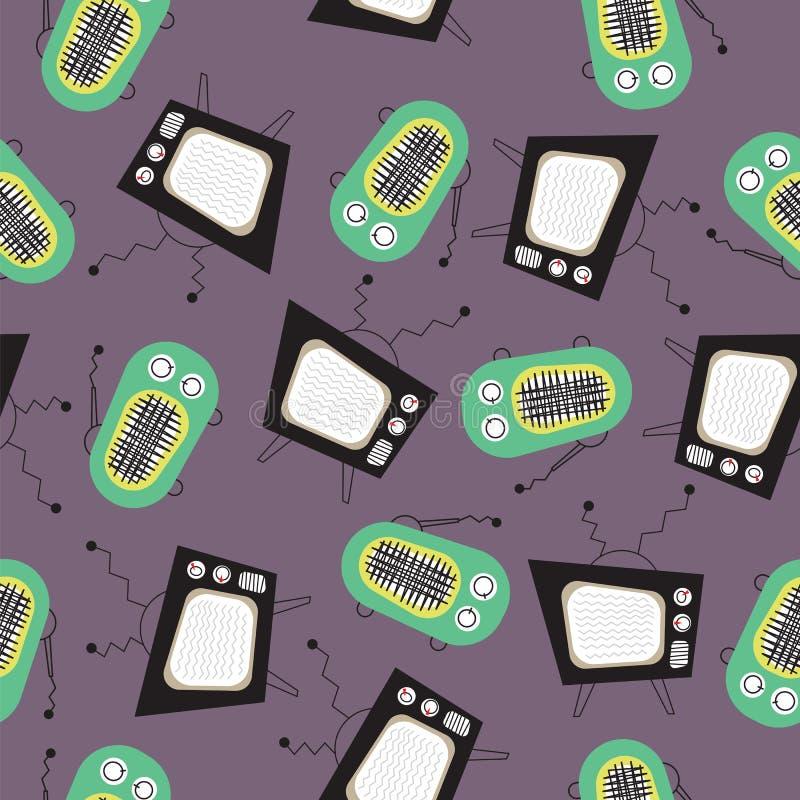 Deseniowa retro telewizja i rocznik transmitowaliśmy na szarej tło wektoru sztuce ilustracja wektor
