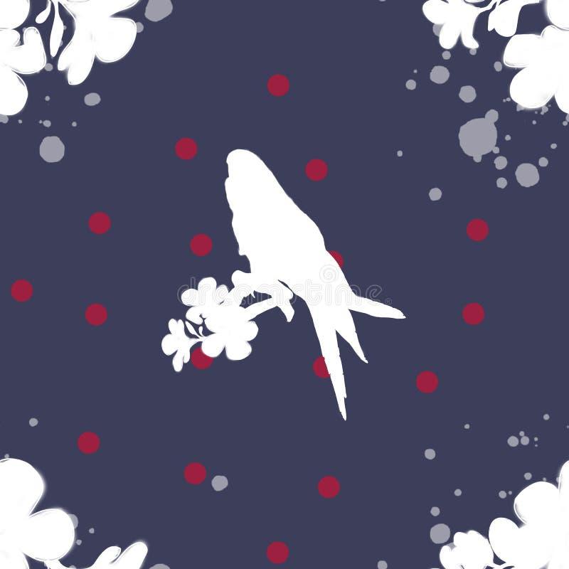 Deseniowa sylwetka ptak i kolory biel na jaskrawym tle, ty mo?esz u?ywa? na tkaninie ilustracji