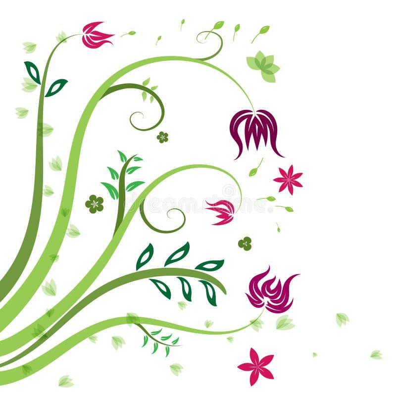 Deseniowa zielona czerwień i purpurowy wektoru tło kwiecisty i liść ilustracja wektor