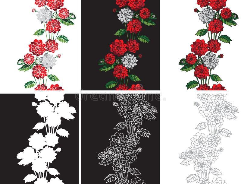 Deseniowe bezszwowe kwiat dalie royalty ilustracja
