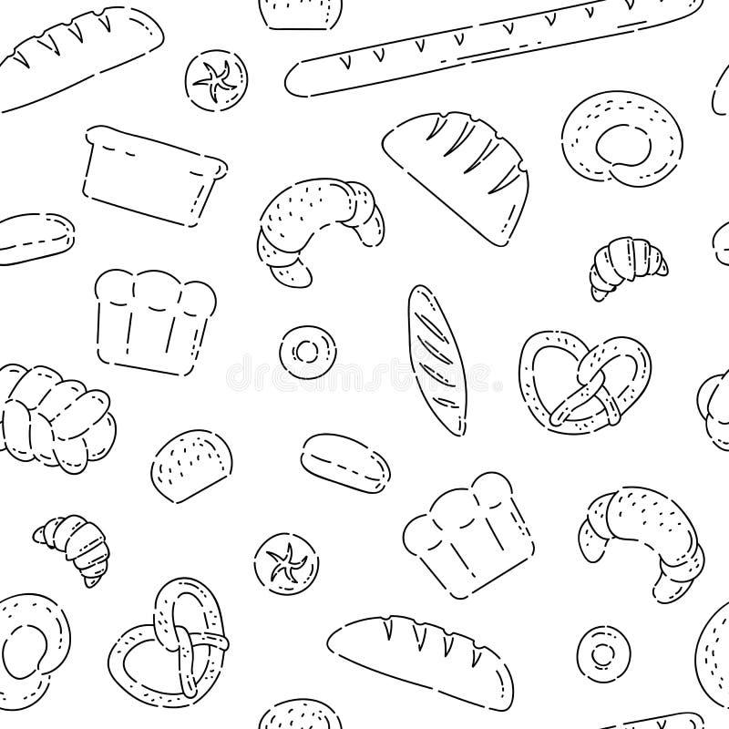 Deseniowe bezszwowe piekarnia produktów chlebowej linii doodle ikony Różny piec towarowy wektorowy nakreślenia czerń odizolowywaj royalty ilustracja