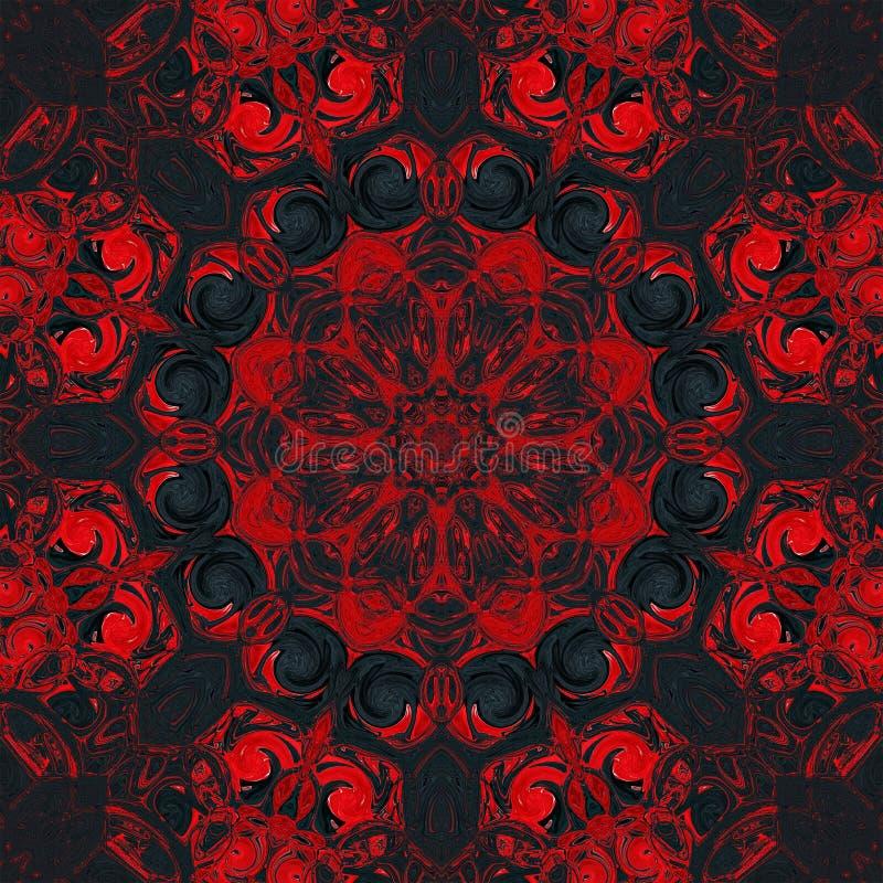 Deseniowego t?a abstrakcjonistyczny czerwony kalejdoskop Mandala bezszwowy ilustracji