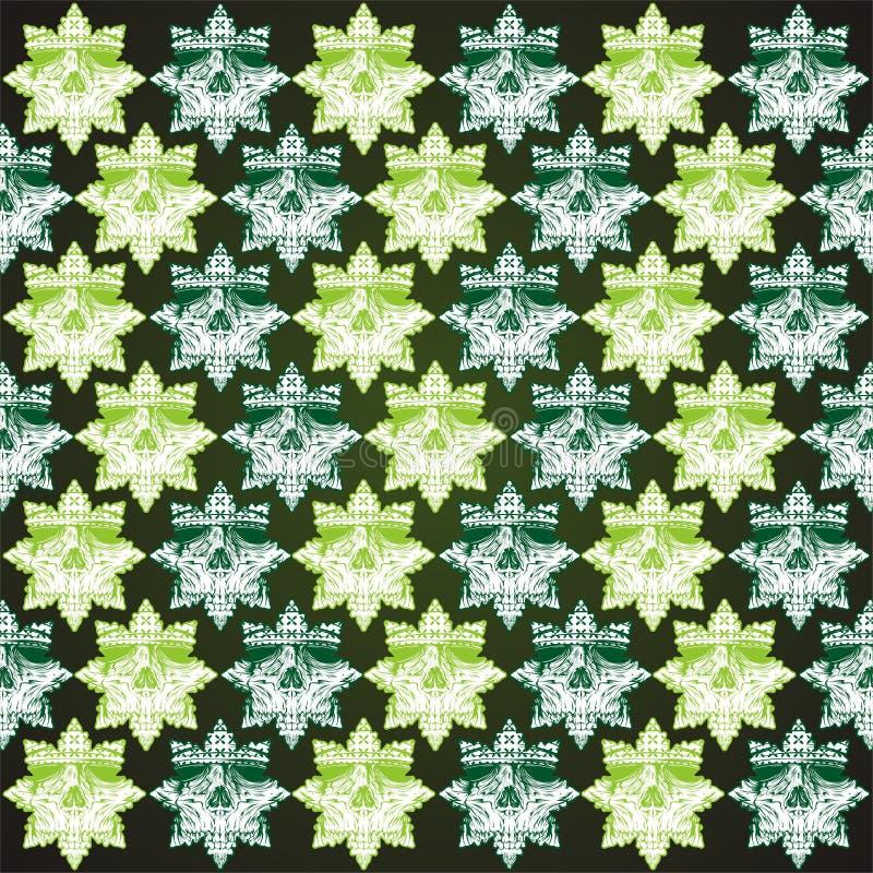 Deseniowej czaszka ornamentu zieleni ręki rysunkowy wektor ilustracji