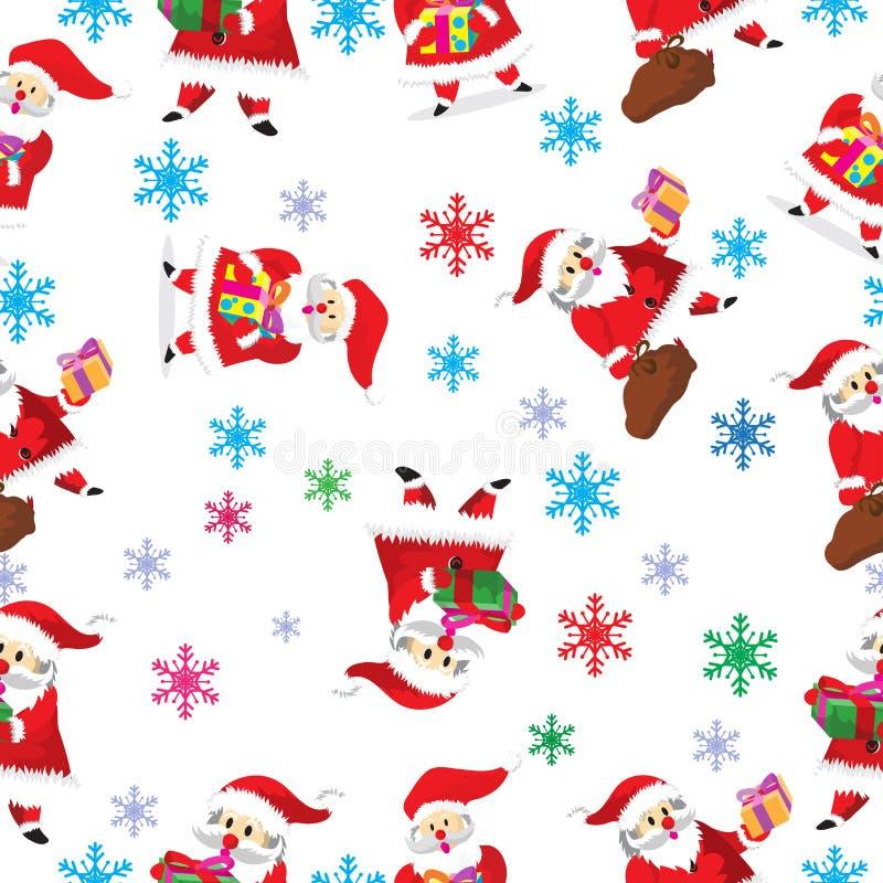 Deseniowej kreskówki wektorowa ręka rysująca Doodles Santa charakteru ilustracja wektor