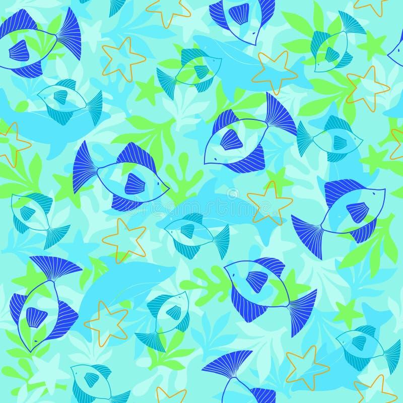 deseniowej rybną powtórki bezszwowy wektora ilustracja wektor