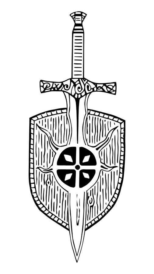 Deseniowej Viking kordzika osłony antyczny tatuaż czarny i biały ilustracji