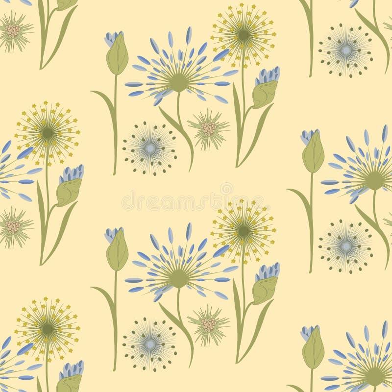 Deseniowej wildflowers delikatnej beżowej błękitnej sztuki kreatywnie wektor royalty ilustracja