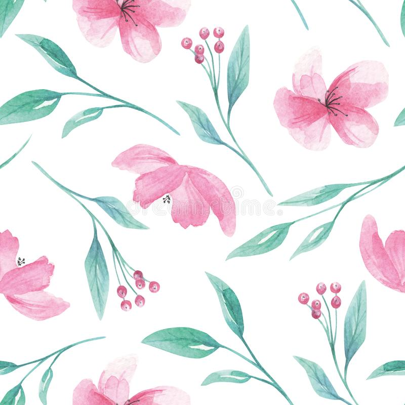 Deseniowi Bezszwowi akwareli Aqua zieleni liści liścia jagod kwiaty royalty ilustracja