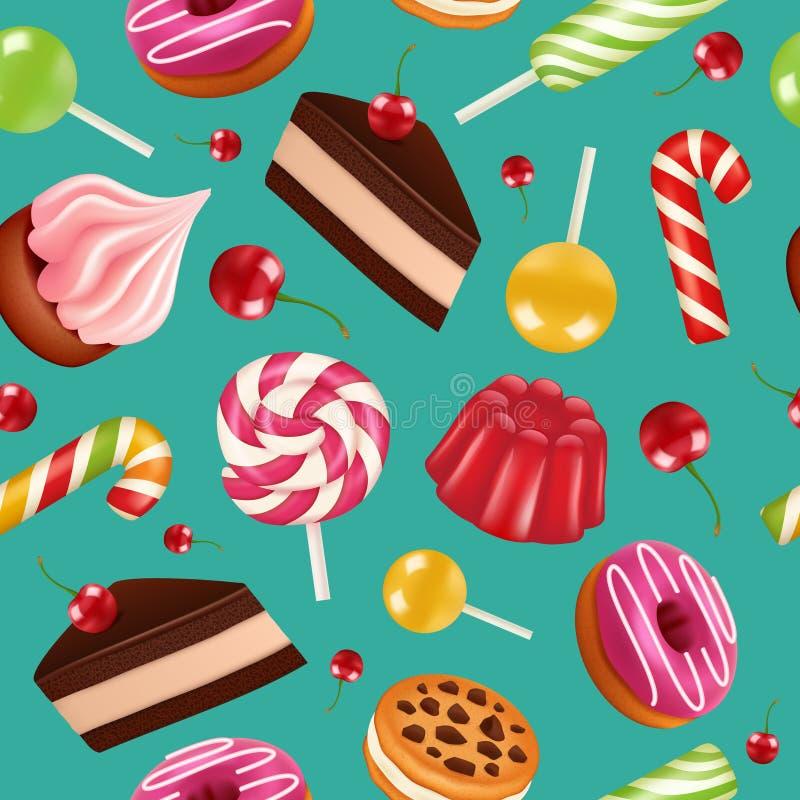 deseniowi bezszwowi cukierki Cukierek babeczki wakacyjni lizaki i śmietanka zasychają z czereśniowych owoc wektorowym kolorowym w ilustracji