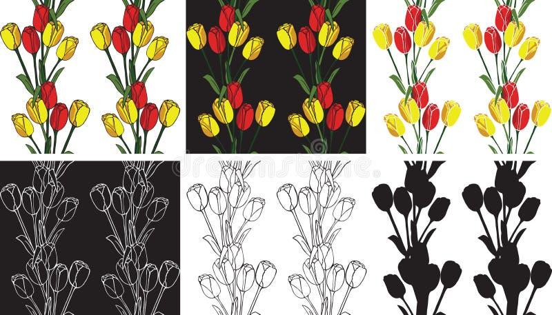 Deseniowi bezszwowi kwiatów tulipany royalty ilustracja