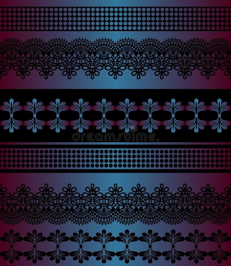 deseniowi bezszwowi lampasy Lampasa set Koronkowe Artystyczne Bezszwowe granicy Dekoracyjny ornamentu t?o dla tkaniny, tkanina, z royalty ilustracja