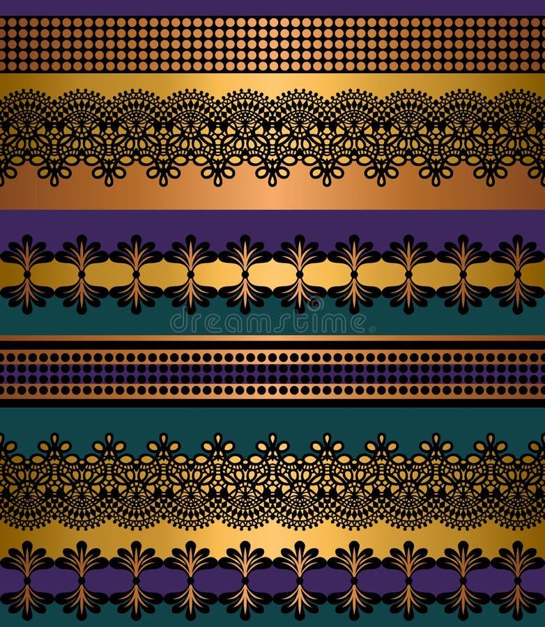 deseniowi bezszwowi lampasy Lampasa set Koronkowe Artystyczne Bezszwowe granicy Dekoracyjny ornamentu t?o dla tkaniny, tkanina, z ilustracja wektor