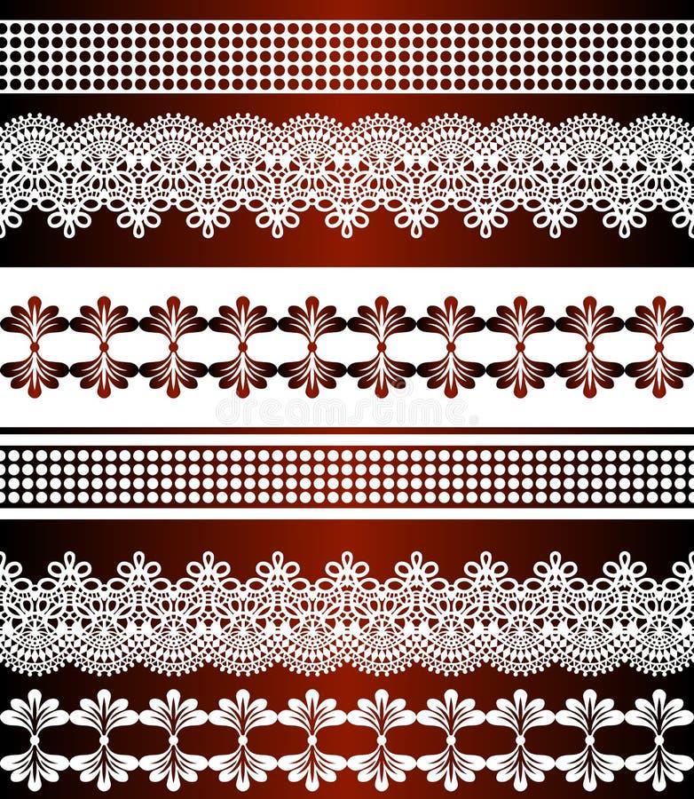 deseniowi bezszwowi lampasy Lampasa set Koronkowe Artystyczne Bezszwowe granicy Dekoracyjny ornamentu t?o dla tkaniny, tkanina, z ilustracji