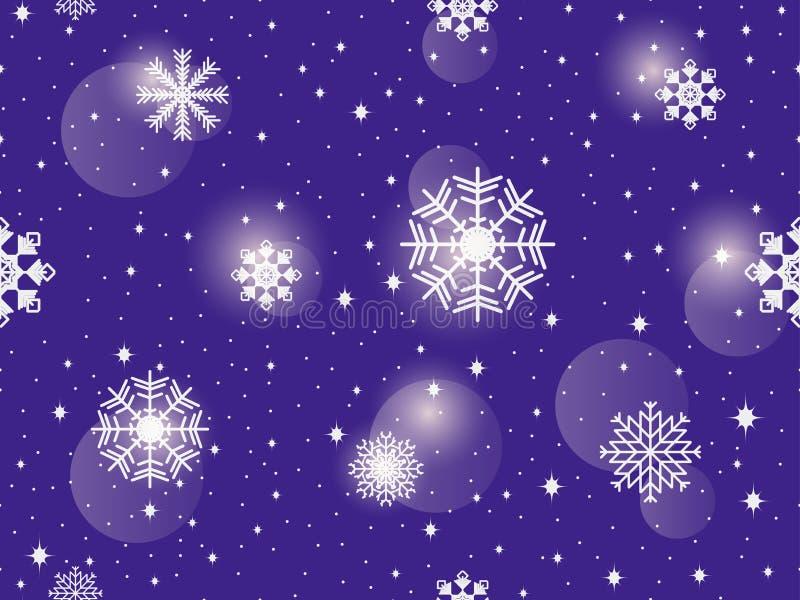 deseniowi bezszwowi płatki śniegu tło abstrakcyjna zimy Bokeh skutek wektor ilustracji