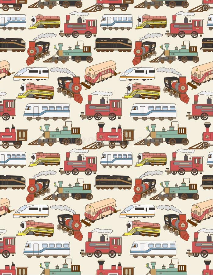 deseniowi bezszwowi pociągi royalty ilustracja