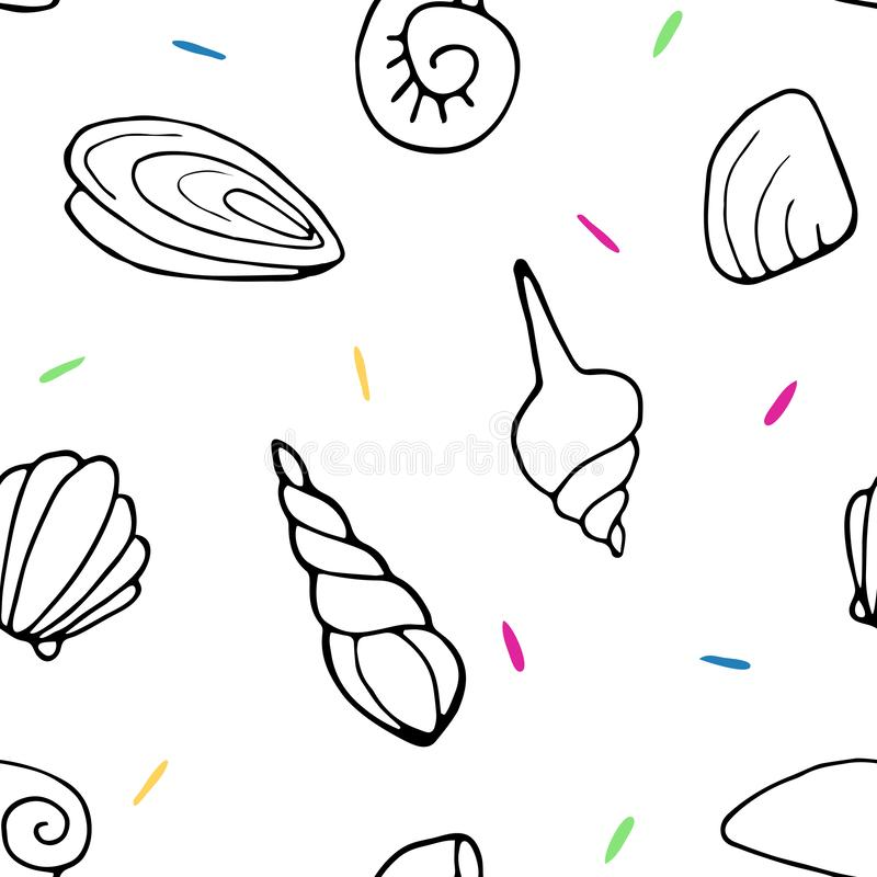 deseniowi bezszwowi seashells ilustracja wektor
