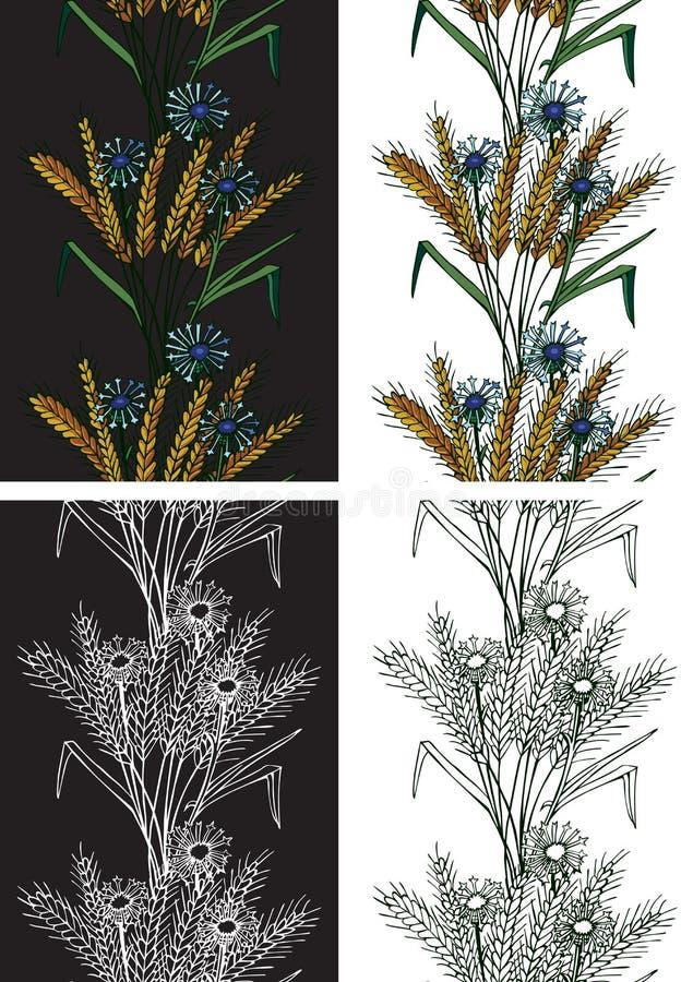 Deseniowi bezszwowi spikelets i kwiaty ilustracja wektor