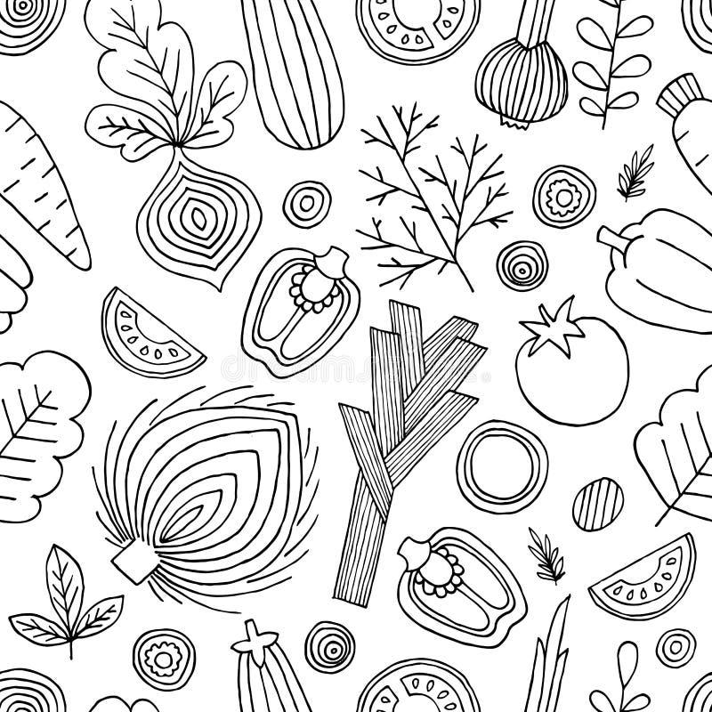 deseniowi bezszwowi warzywa Liniowa grafika Warzywa tło Skandynawa styl zdrowa żywność również zwrócić corel ilustracji wektora ilustracja wektor