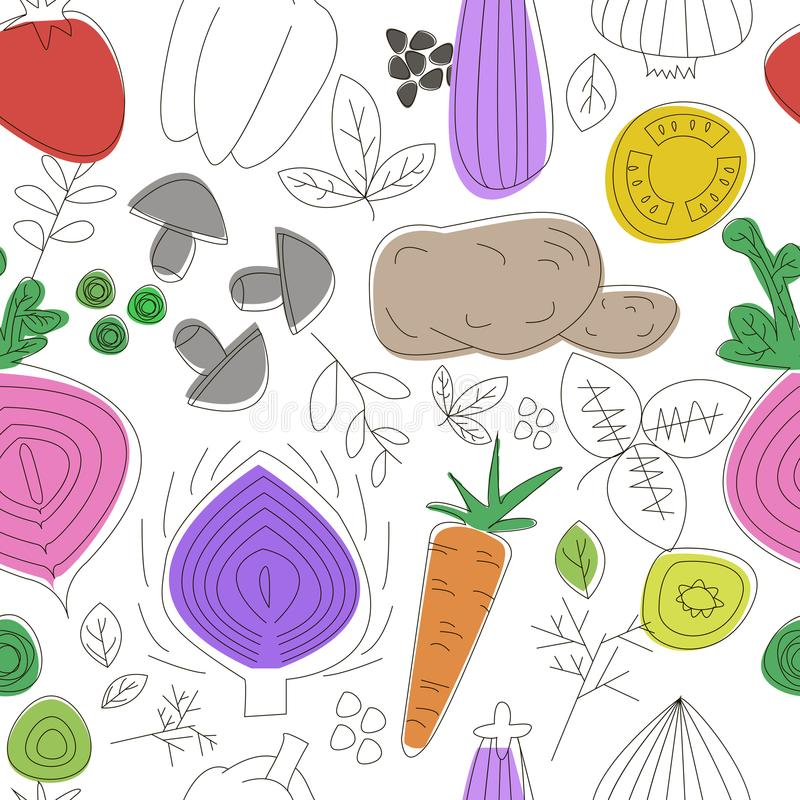 deseniowi bezszwowi warzywa Liniowa grafika Warzywa tło Skandynawa styl Zdrowy jedzenie wzór ilustracji