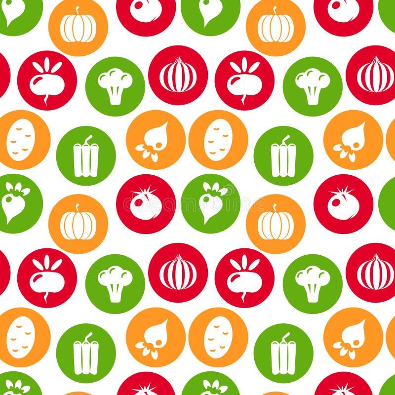 deseniowi bezszwowi warzywa Liniowa grafika Warzywa tło Skandynawa styl Zdrowy jedzenie wzór wektor ilustracji