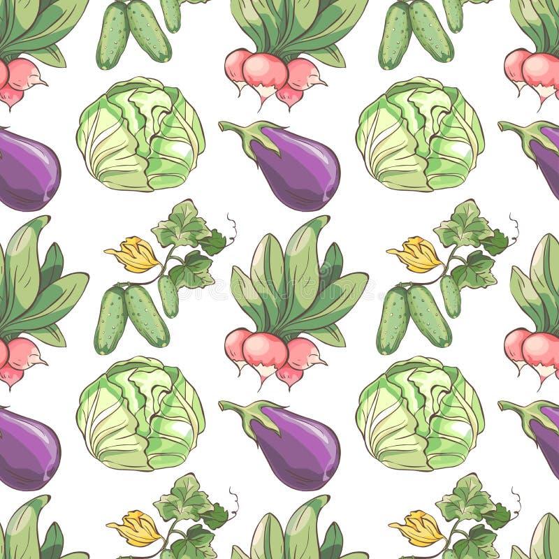 deseniowi bezszwowi warzywa Tło z rzodkwią, kapustą, ogórkiem i oberżyną, ilustracji