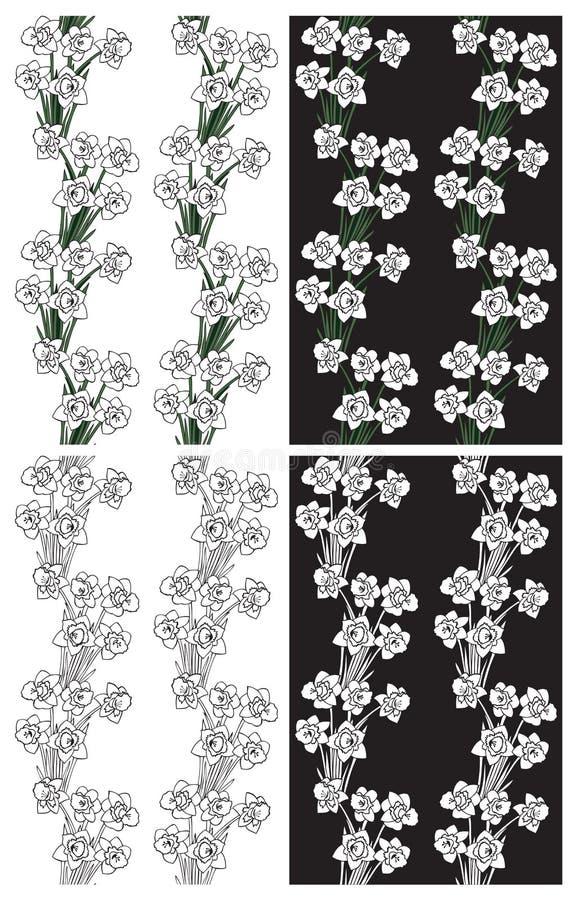 Deseniowi czarny i biały kwiatów daffodils ilustracja wektor